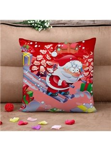 Santa on Skis Print Throw Pillow Case