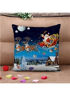 Santa Sleigh Reindeer Flying Over Winter Countryscape Throw Pillow Case