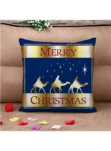 Merry Christmas and Camel Print Throw Pillow Case