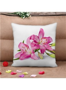 Charming Pink Lily Print Throw Pillow Case
