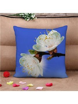 Fresh White Pear Blossom Print Throw Pillow Case