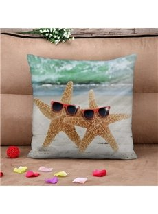 Lovely Starfish with Sunglasses Print Throw Pillow Case