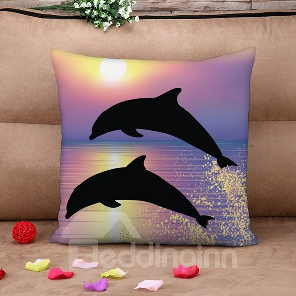 Vivid Dolphin Print Purple Throw Pillow Case