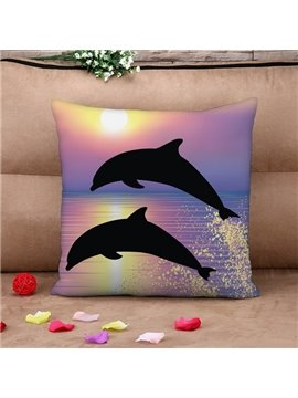 Vivid Dolphin Print Purple Throw Pillow Case