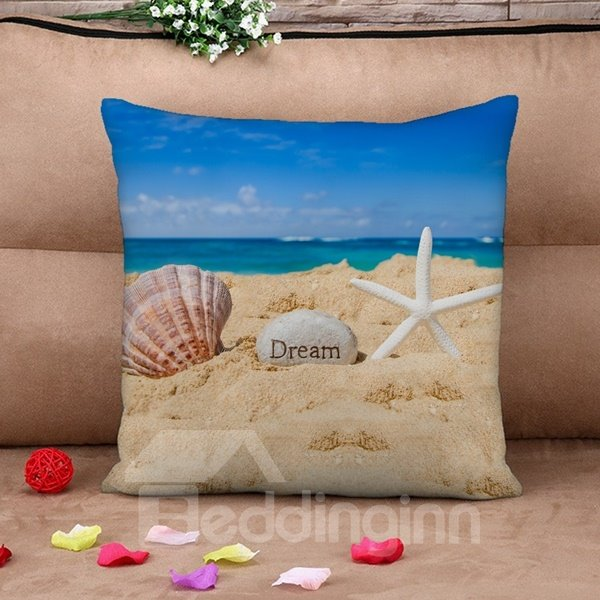 Fancy Shell and Starfish Print Throw Pillow Case