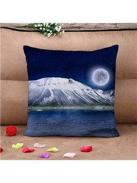 Moonlight Snow Mountain Print Throw Pillow Case