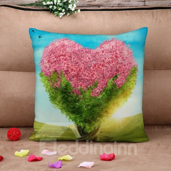 Unique Pink Heart-shaped Tree Print Throw Pillow Case