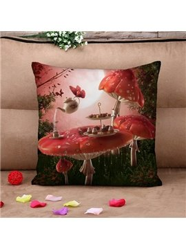 Mushroom and Butterfly Print Throw Pillow Case