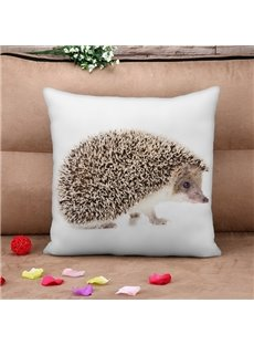 Unique Hedgehog Print Square Throw Pillow Case