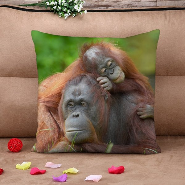 Popular Mother and Baby Monkey Print Throw Pillow Case