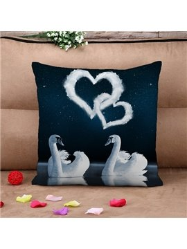 White Swans Couple and Heart Shape Print Throw Pillow Case