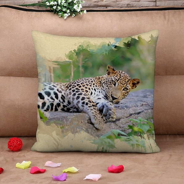 Vigorous 3D Leopard Print Throw Pillow Case