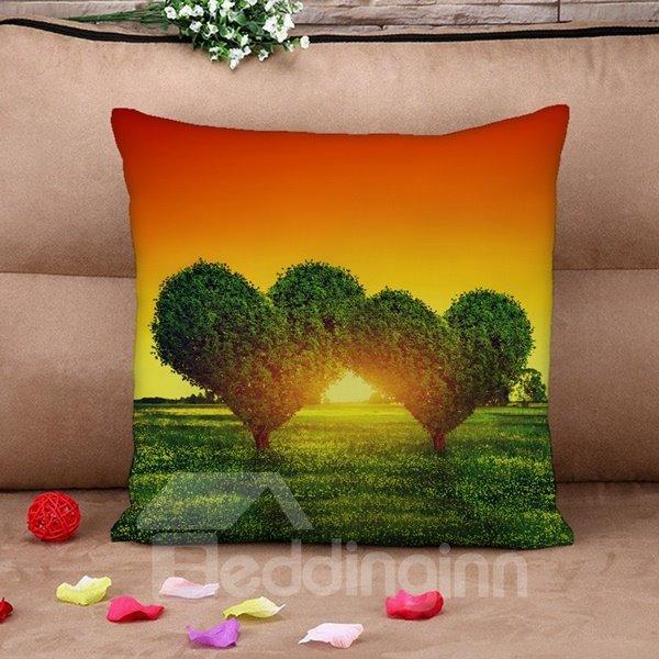 Fantastic Green Heart Shape Tree Print Throw Pillow Case