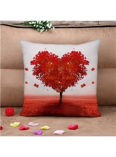 Unique Red Heart-shaped Tree Print Throw Pillow Case