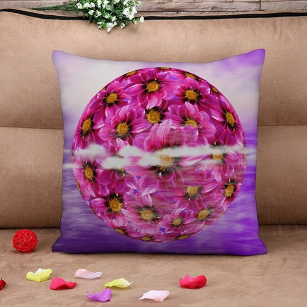 Blooming Purple Flower Print Throw Pillow Case