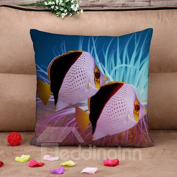 Attractive Ornamental Fish Print Throw Pillow Case