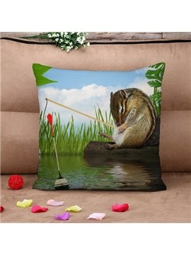 Cute Hamster and Fishing Rod Print Throw Pillow Case