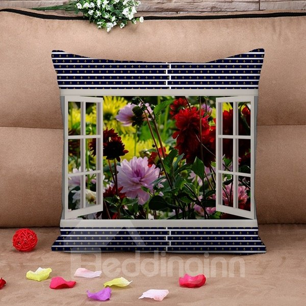 Rose Outside the Window Print Throw Pillow Case