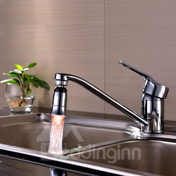 Unique Design Chrome Finish Temperature Sensor Kitchen Faucet Head
