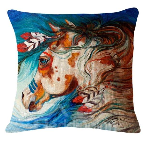Handsome Horse Reactive Print Throw Pillow Case