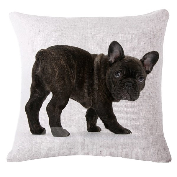 Likable Black Bulldog Print Throw Pillow Case