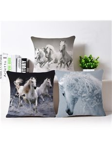 Vivid 3D Horse Print Throw Pillow Case