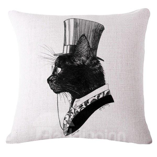 Simple Design Sexy Kitty Print Throw Pillow Case