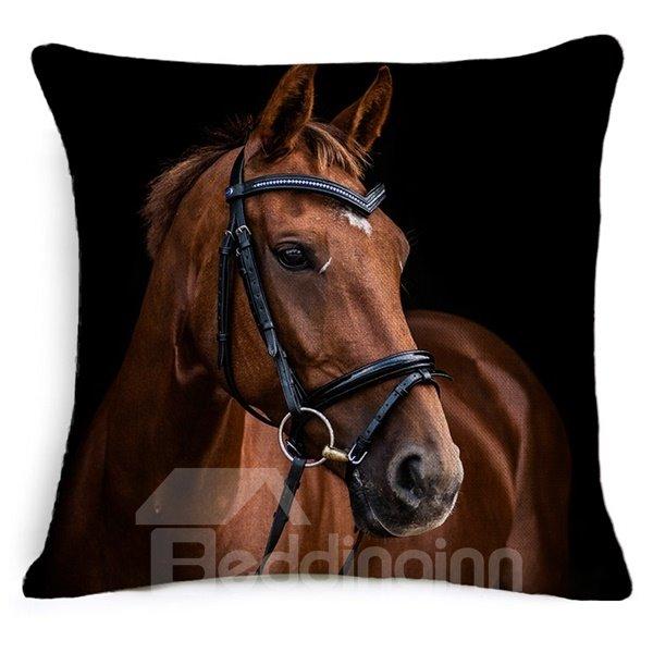 Vintage Style Vivid Horse Print Throw Pillow Case