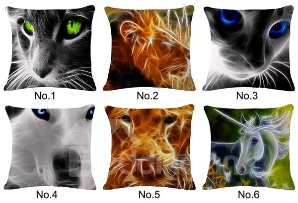 Personalized 3D Animal Print Square Throw Pillow Case
