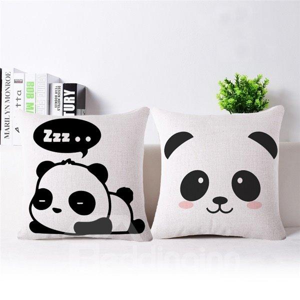 Minimalist Style Cute Panda Print Throw Pillow Case