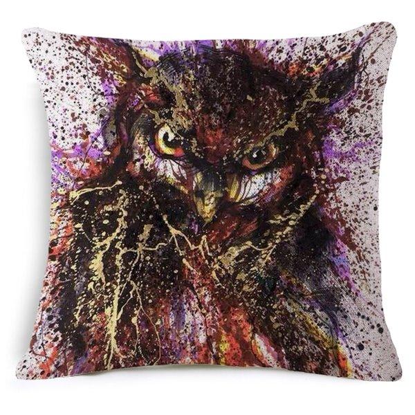 Vintage Style Owl Print Square Throw Pillow Case