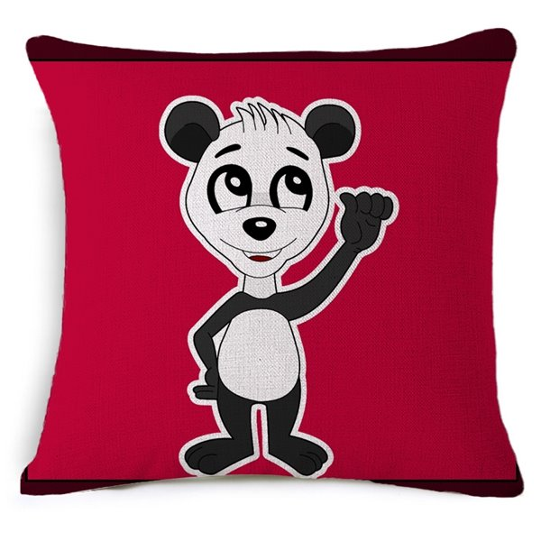 Funny Panda Print Red Square Throw Pillow Case