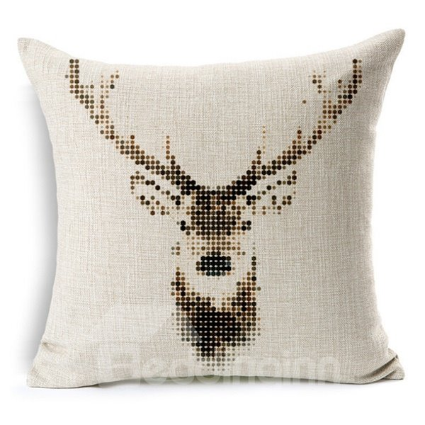 Comfortable Lovely Reindeer Print Throw Pillow Case