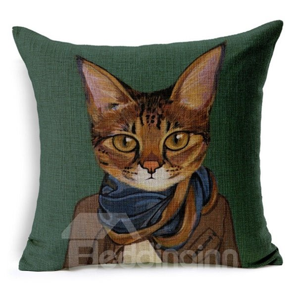 Popular Likable Kitty Print Throw Pillow Case