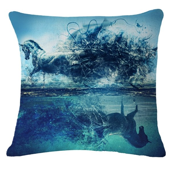 Magnificent 3D Horse Print Throw Pillow Case