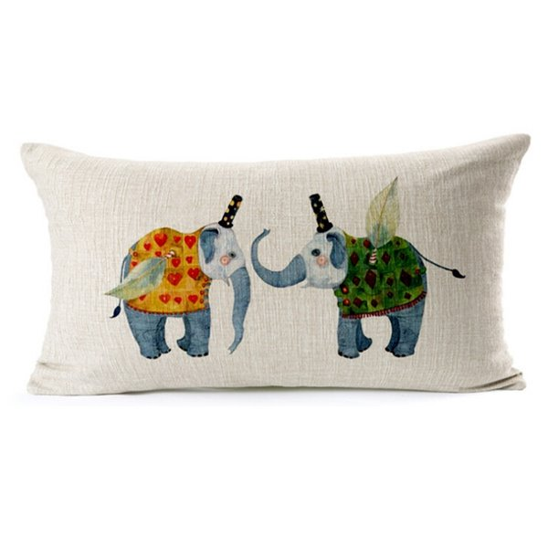 Likable Elephant Print Oblong Throw Pillow Case