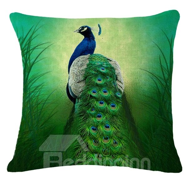 Elegant Peacock Feather Design Throw Pillow Case