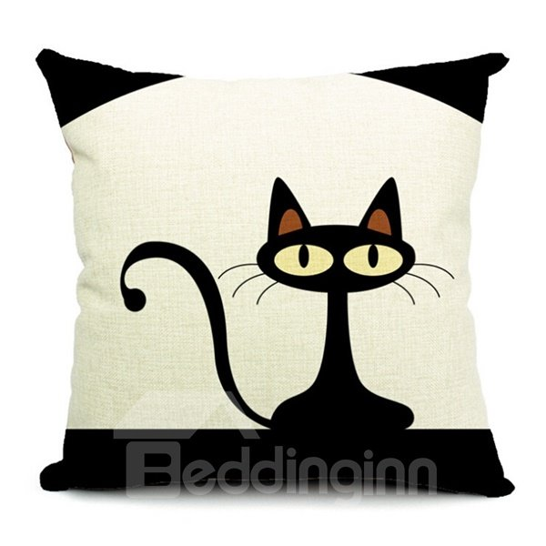Likable Kitty Print Square Throw Pillow Case