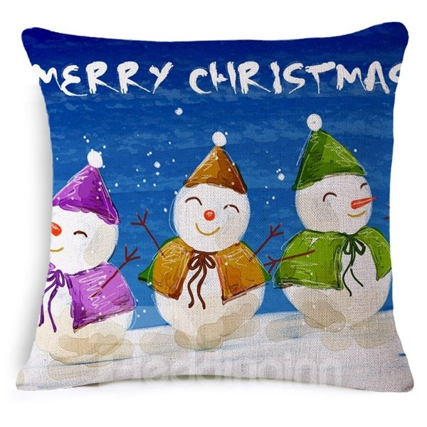 Popular Design Snowman Print Throw Pillow Case