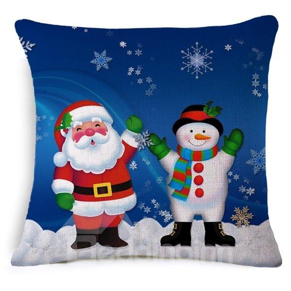 Adorable Santa Claus and Snowman Print Throw Pillow Case