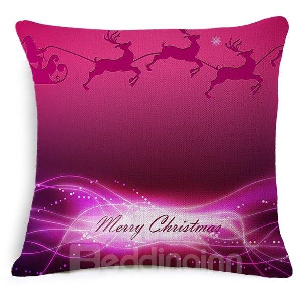Luxury Reindeer Print Burgundy Throw Pillow Case