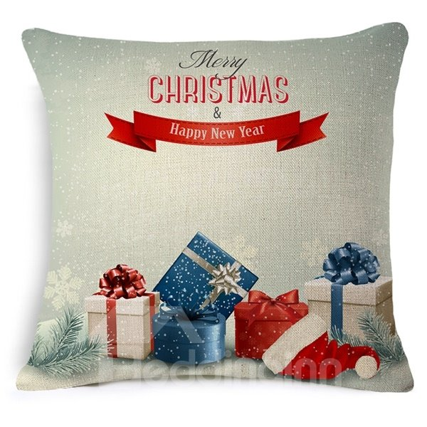 Colorful Christmas Gifts Print Throw Pillow Case