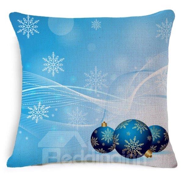 Adorable Christmas Decoration Print Blue Throw Pillow Case