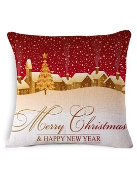 Pretty Snow Scenery Print Throw Pillow Case