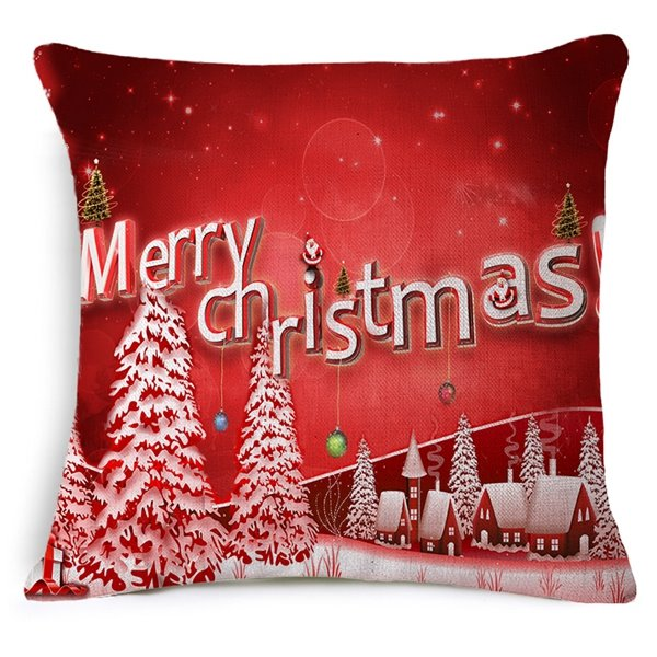 Christmas Tree Print Red Throw Pillow Case