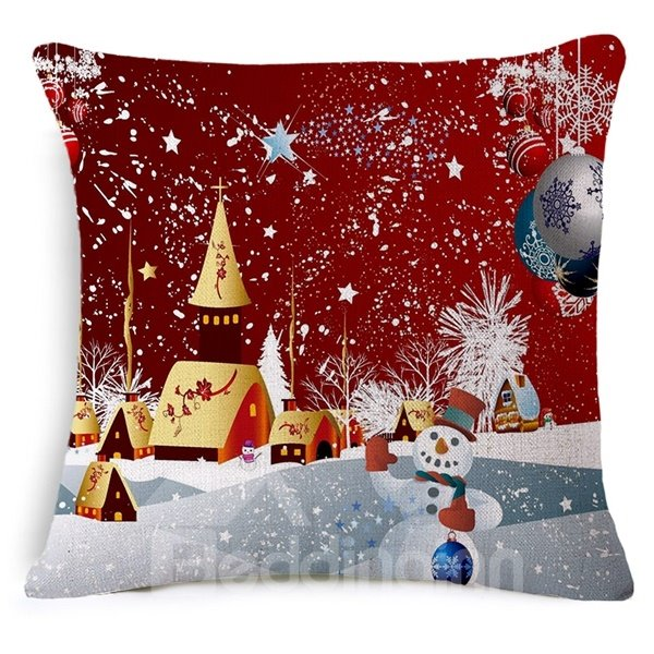 Charming Christmas Eve Print Throw Pillow Case