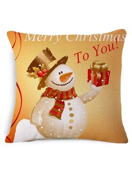 Lovely Snowman and Gift Print Throw Pillowcase