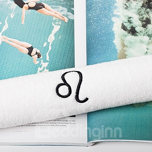 Softness and Absorbency White with Symbol of Leo Face & Hand Towel