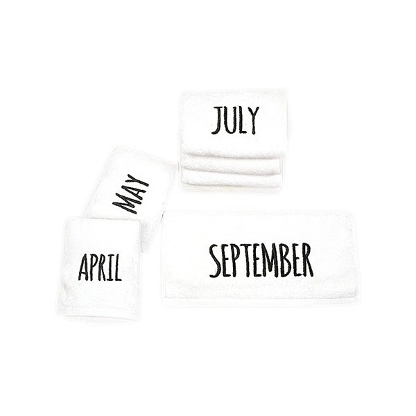 Chic White with Embroidery Name of 12 Month Face & Hand Towel