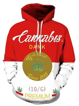 Long Sleeve Cannabis Letters Pattern 3D Painted Hoodie